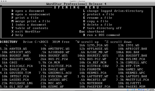 From the archives salvaging wordstar and wordperfect files the opening screen of wordstar 4 publicscrutiny Choice Image