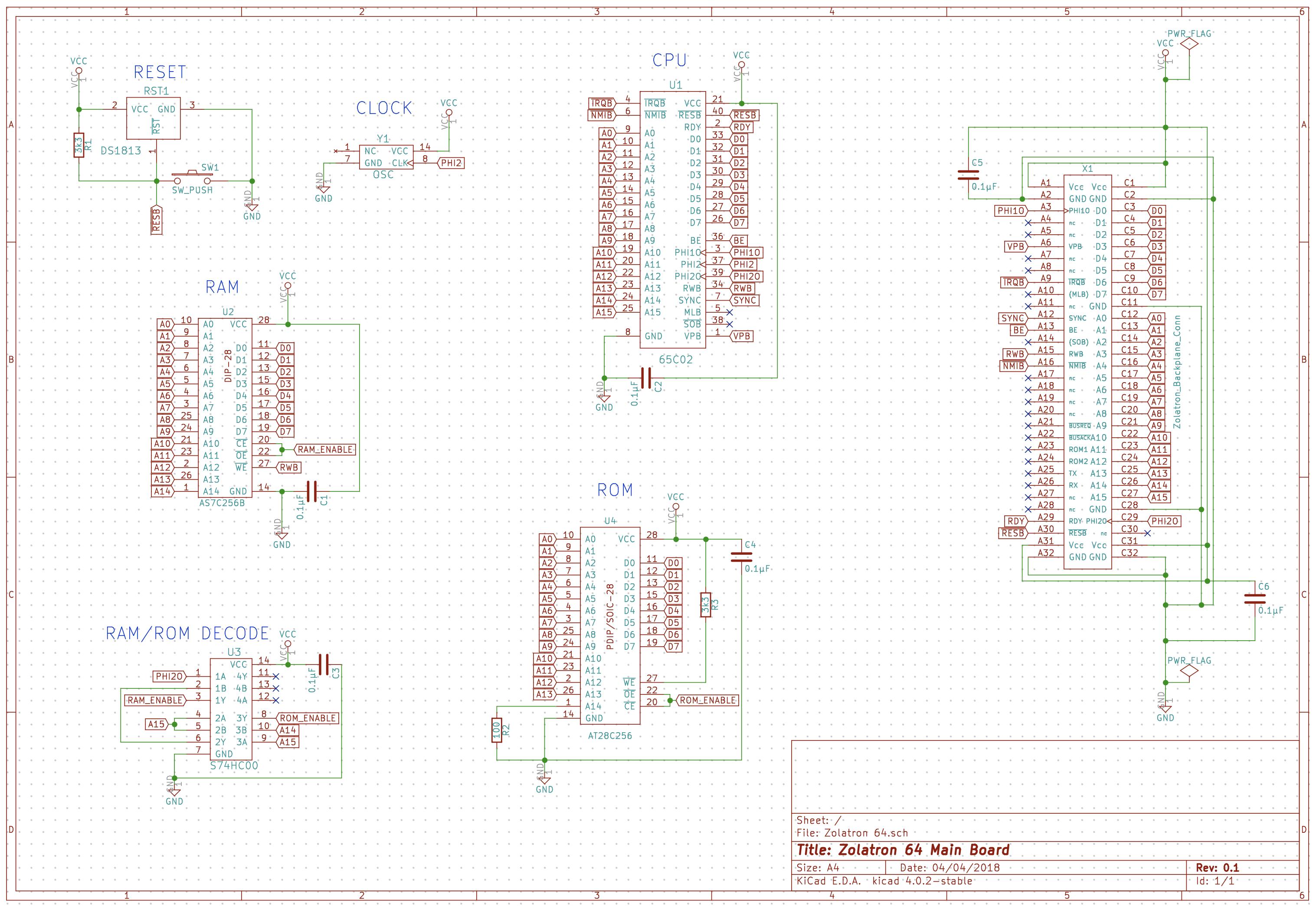 Zolatron 6502 homebrew computer – main board – Machina