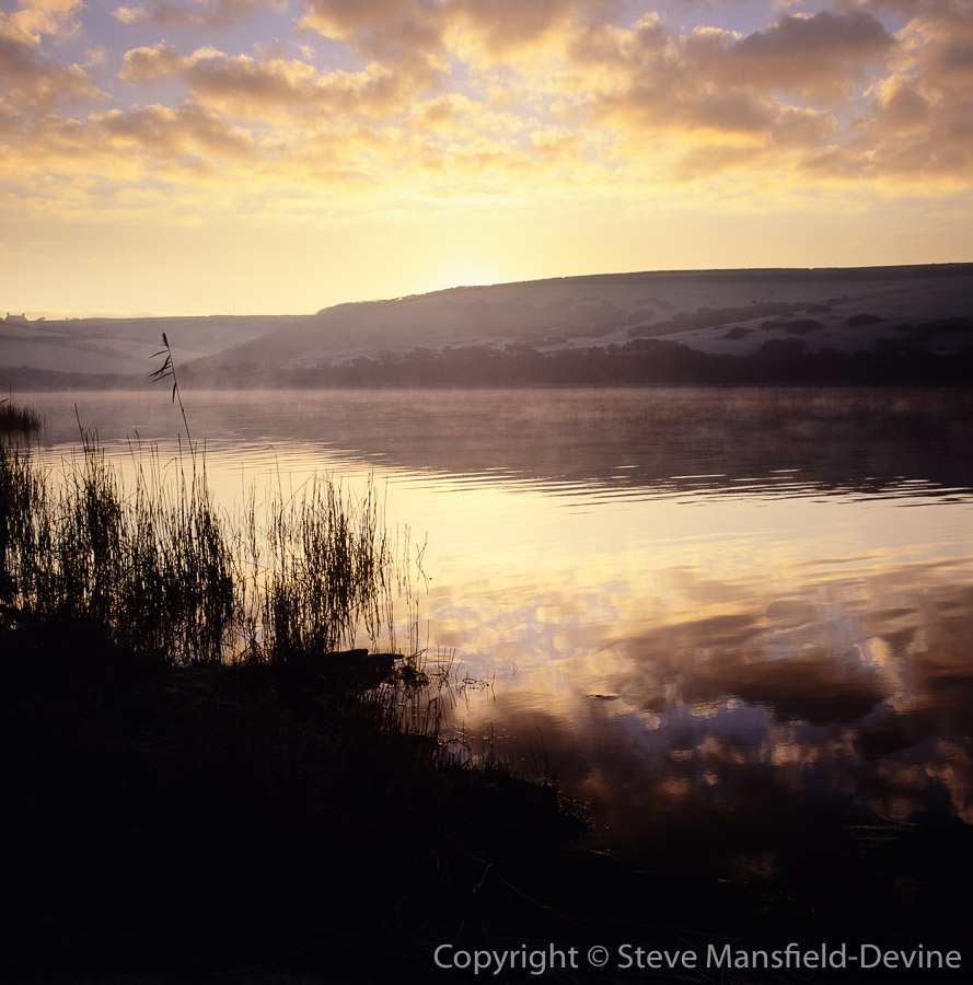 Loe Pool freshwater lake near Helston, Cornwall