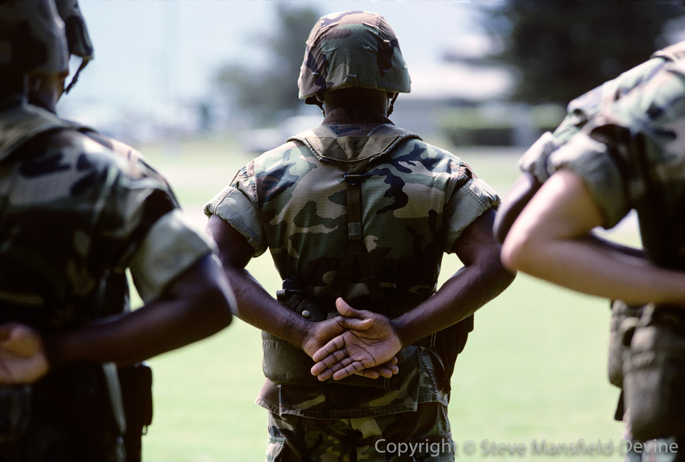 US Marines on parade MCAS Kaneohe Bay Oahu Hawaii
