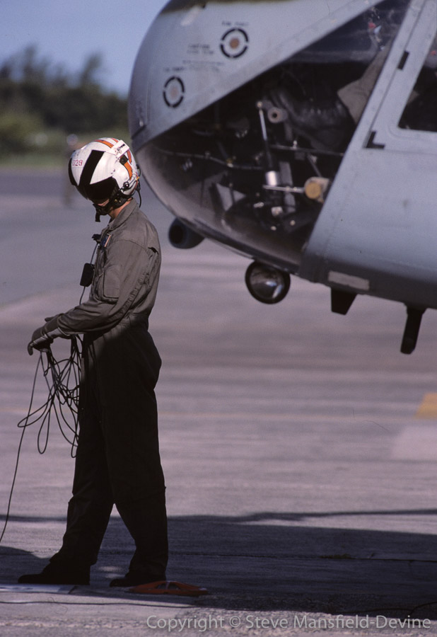 Crew chief, CH-46 Sea Knight helicopter