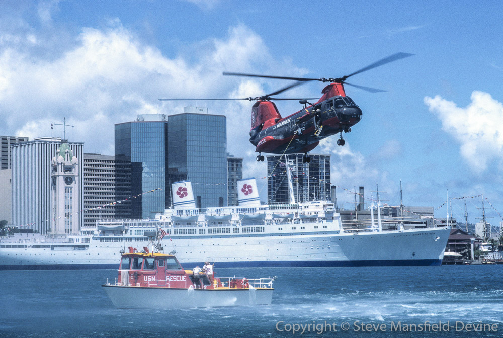 HH-46 Sea Knight helicopter demonstrating rescue from boat, Armed Forces Day, Honolulu