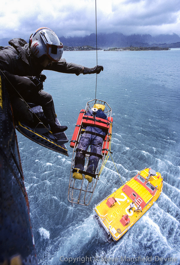 HH-46 SAR helicopter, practice rescue from boat using dummy