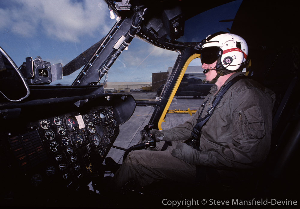 Pilot of CH-53D Sea Stallion helicopter, engine test