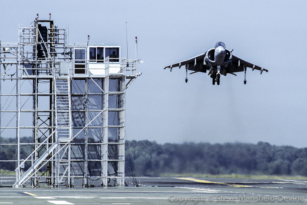 McDonnell-Douglas AV-8B Harrier II landing on mock-up LVH deck